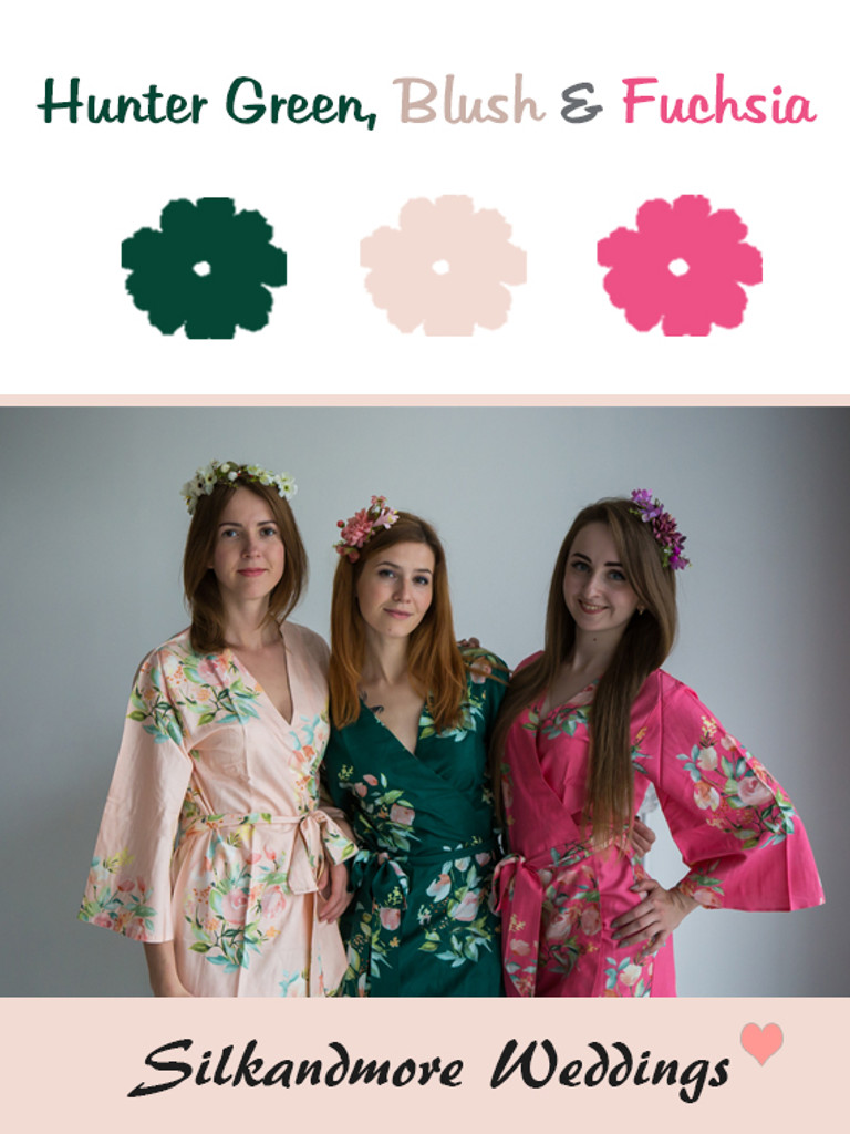 Hunter Green, Blush and Fuchsia Color Robes - Premium Rayon Collection
