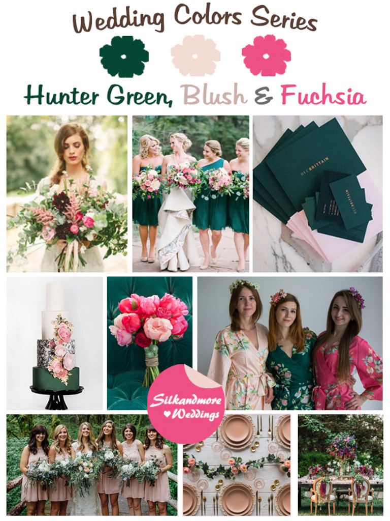 Hunter Green Blush And Fuchsia Wedding Color Palette