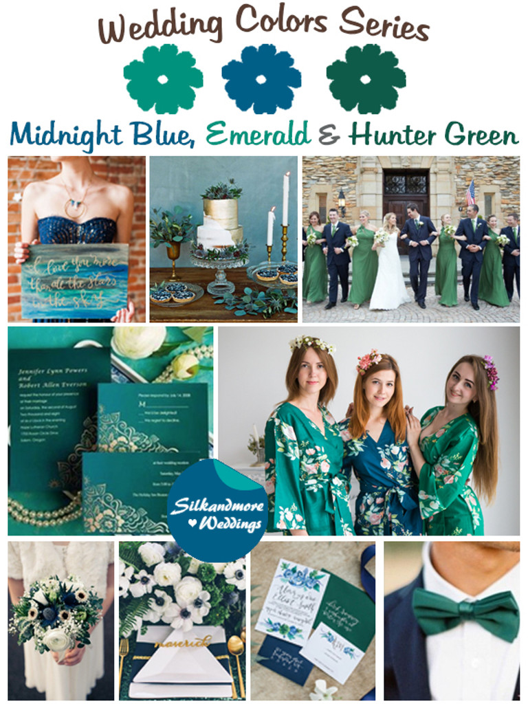 Midnight Blue Emerald And Hunter Green Wedding Color Palette