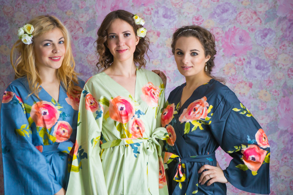 Mint, Dusty Blue and Blueberry Blue Color Robes - Premium Rayon Collection