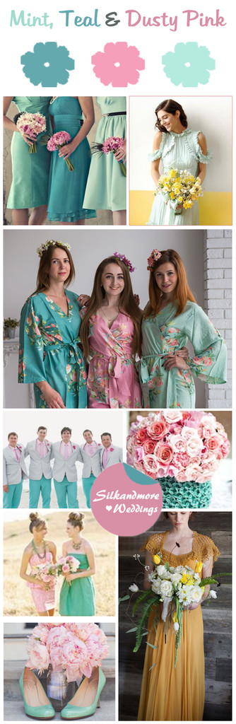 Mint, Teal and Dusty Pink - Premium Rayon Collection
