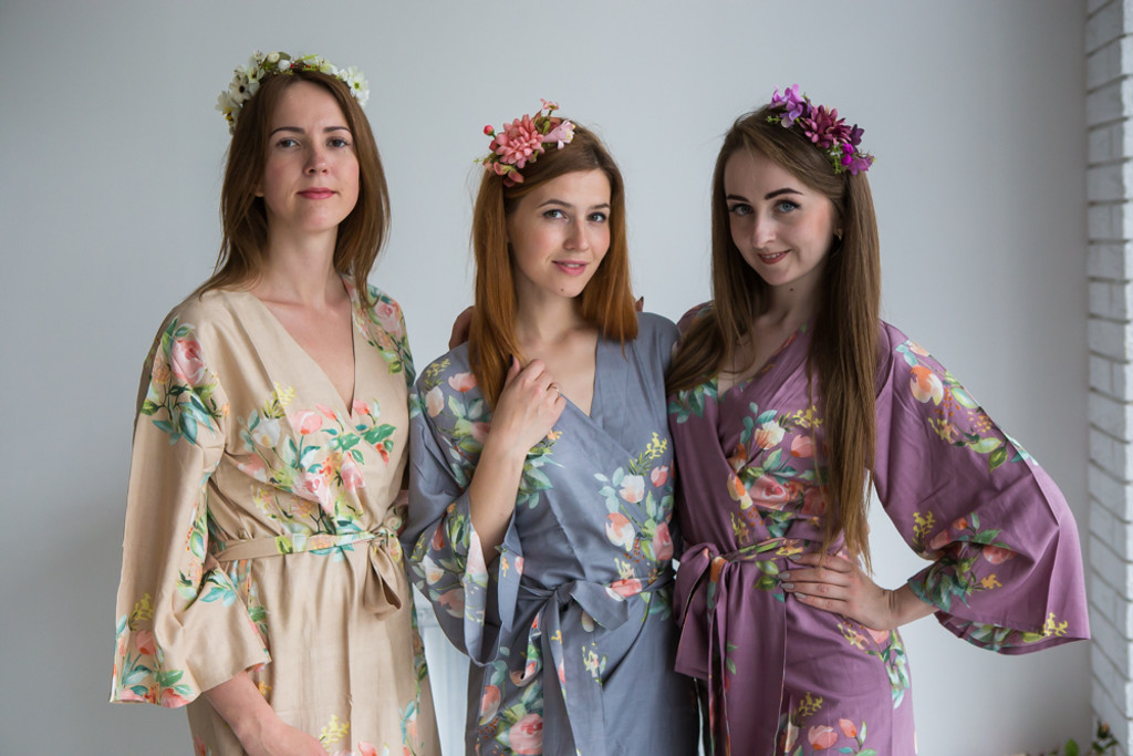 Nude, Gray and Mauve Color Robes - Premium Rayon Collection
