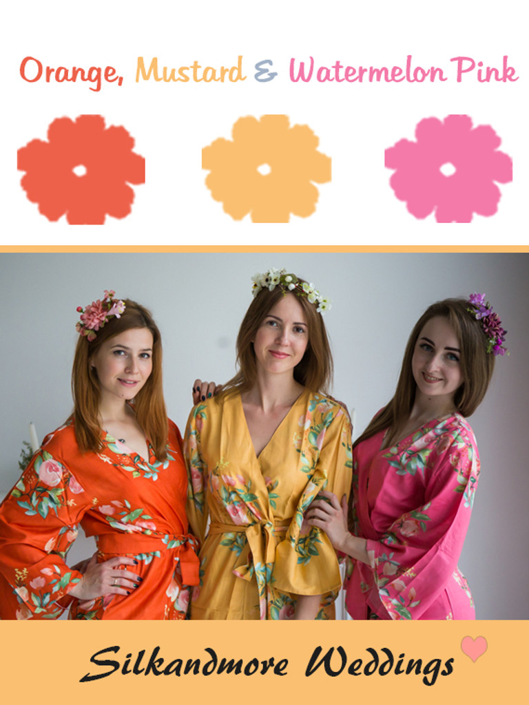 Orange, Mustard and Watermelon Pink Color Robes - Premium Rayon Collection