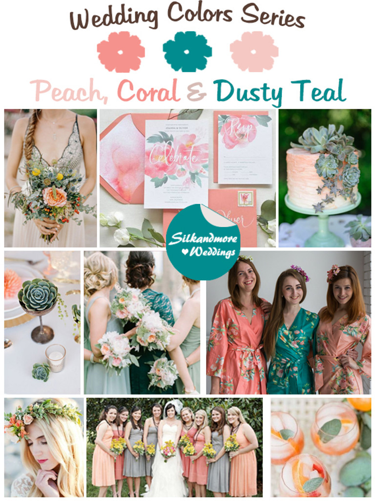 Peach Coral And Dusty Teal Wedding Color Palette Robes By Silkandmore