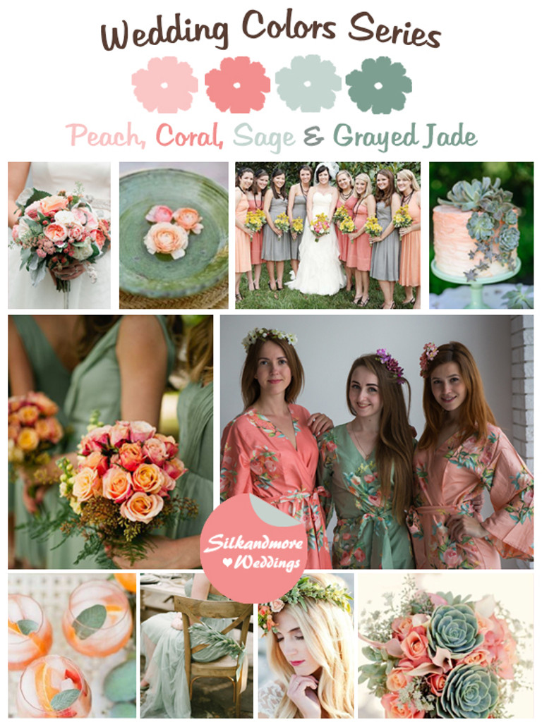 Peach, Coral, Sage and Grayed Jade Color Robes - Premium Rayon Collection