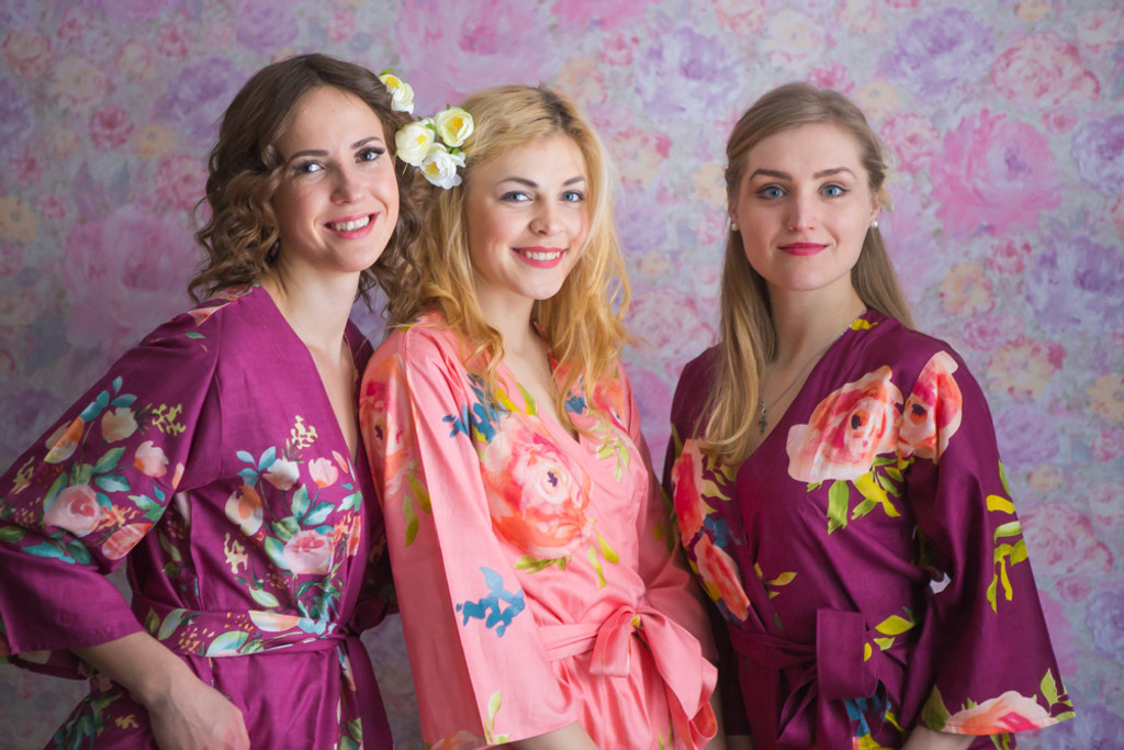 Plum and Peach Color Robes - Premium Rayon Collection