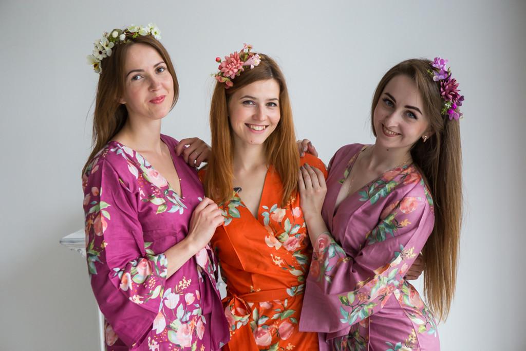 Plum, Mauve and Orange Color Robes - Premium Rayon Collection
