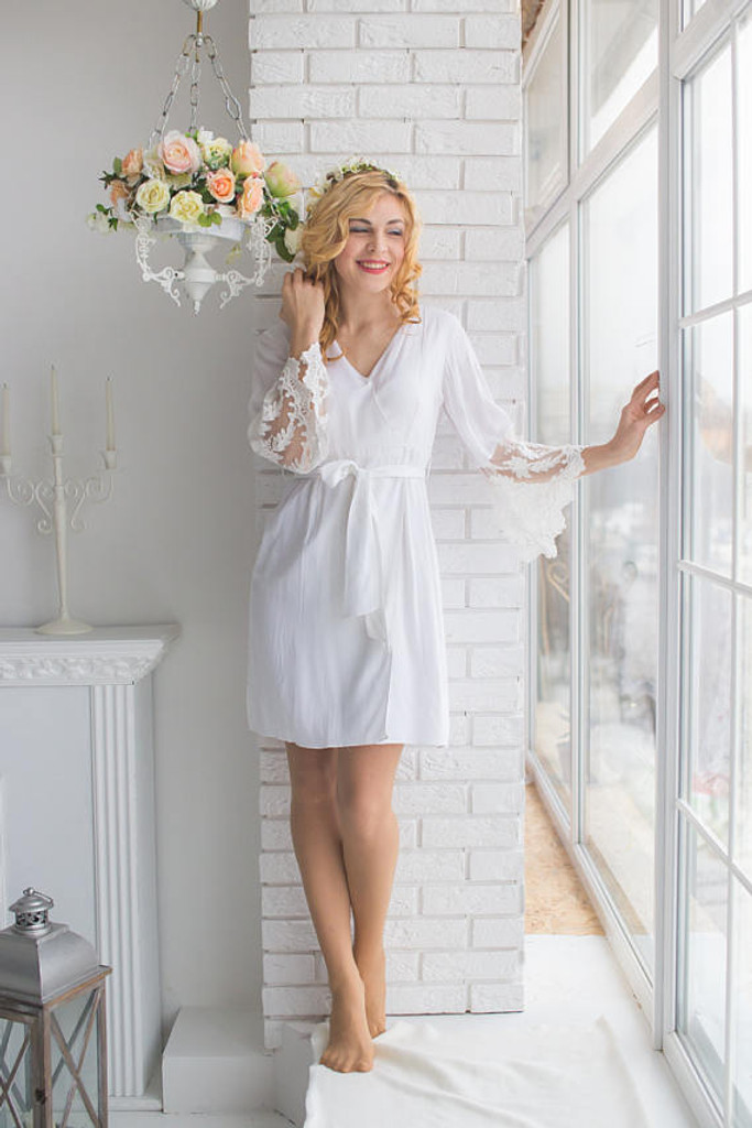 Lace Trimmed Bridal Robe from my Paris Inspirations Collection - Long Leafy Scalloped Lace Cuffs
