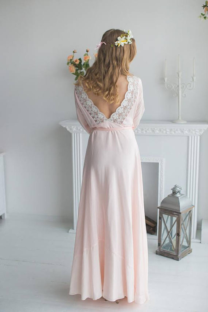 V back Lace Trimmed Blush Bridal Robe from my Paris Inspirations Collection