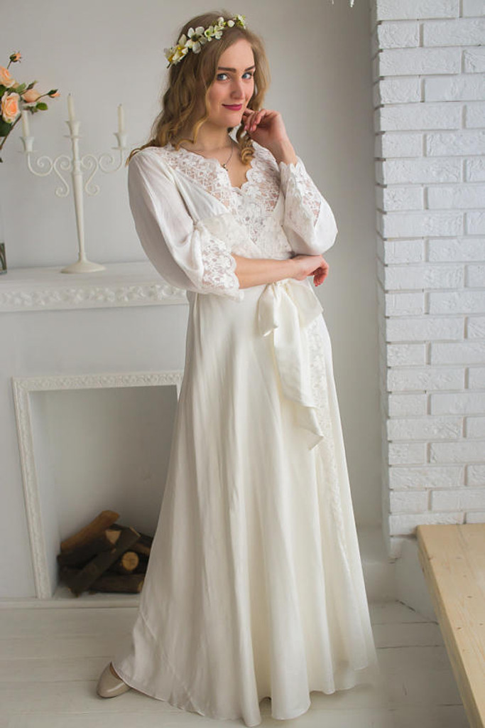 V-Back in White - Lace Trimmed Bridal Robe from my Paris Inspirations Collection