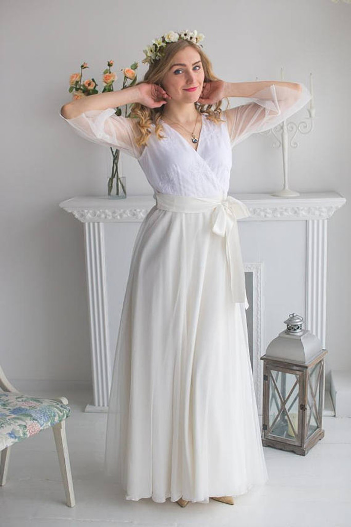 White Bridal Robe from my Paris Inspirations Collection - Flower Touch in White