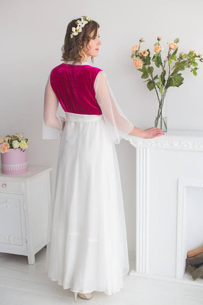 White Burgundy Bridal Robe from my Paris Inspirations Collection - Velvety dreams in White