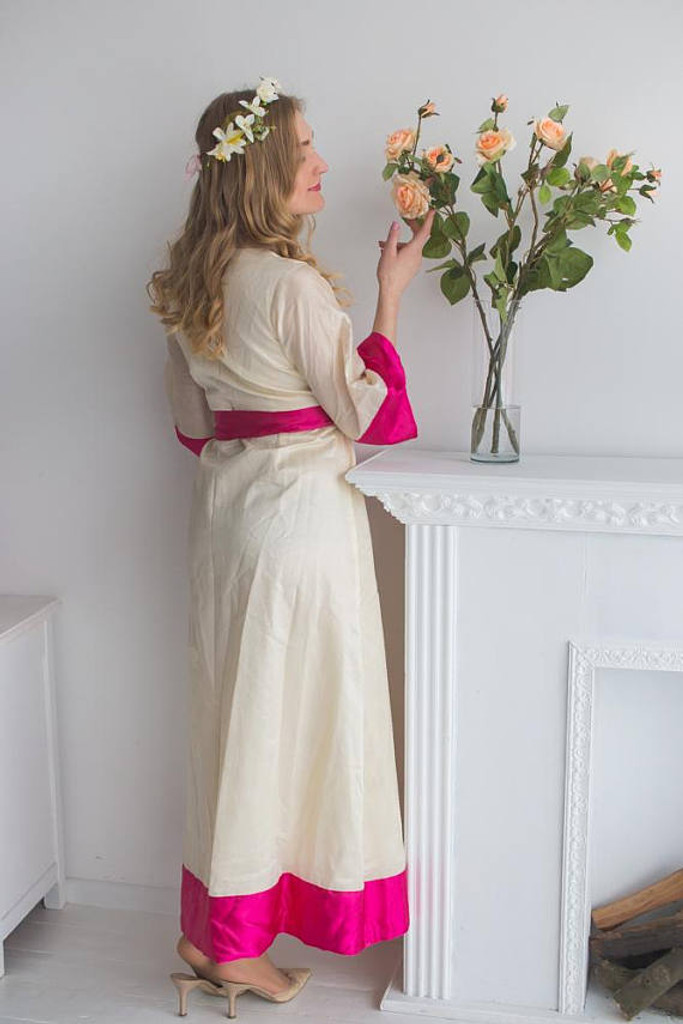 Ivory Fuchsia Bridal Robe from my Paris Inspirations Collection - Maharani Robe in Ivory