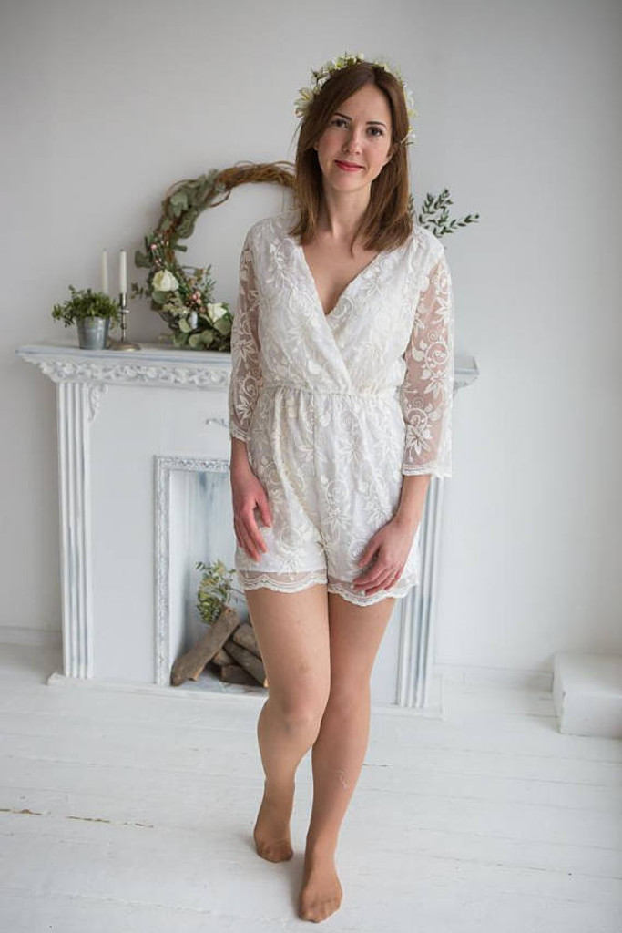 Lace Bridal Romper from my Paris Inspirations Collection - Kimono Style Romper