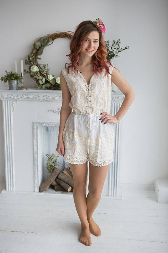 Bridal Lace Romper from my Paris Inspirations Collection - Corset Lace Up Style Romper