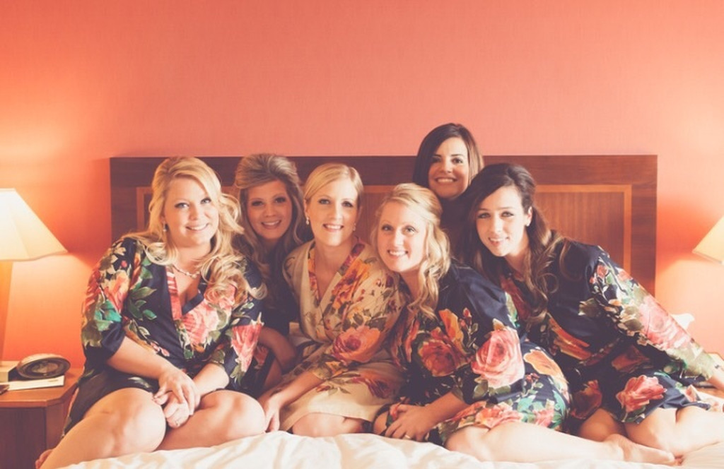 Black Large Floral Blossom Bridesmaids Robes