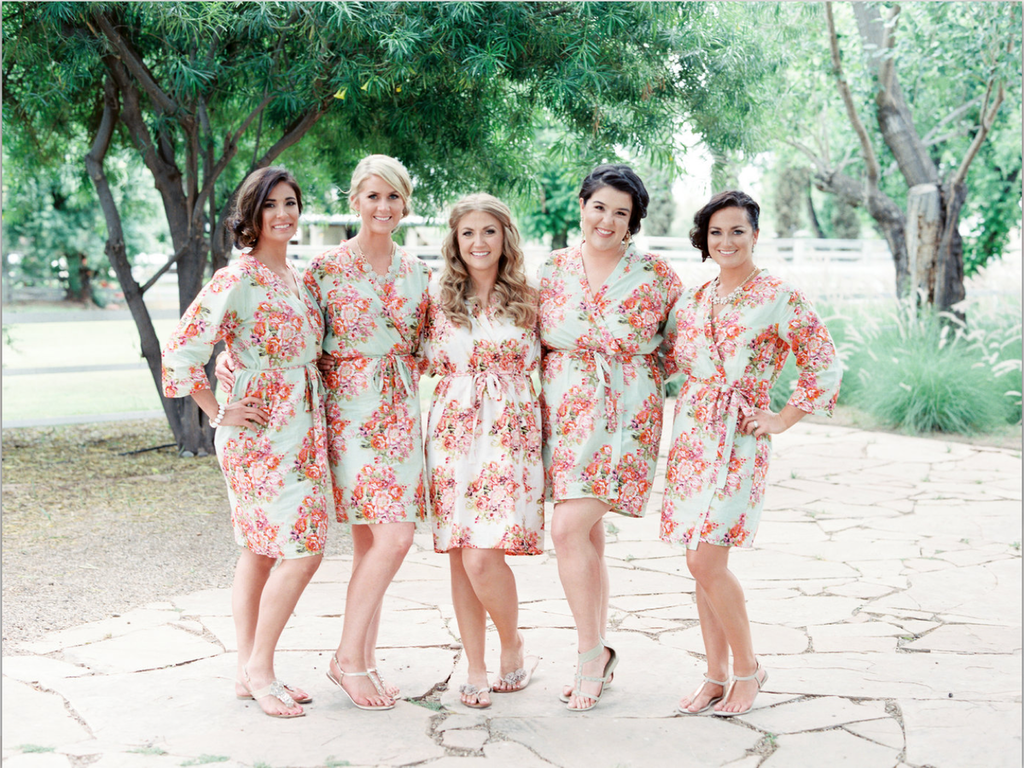 Mint Floral Posy Bridesmaids Robes
