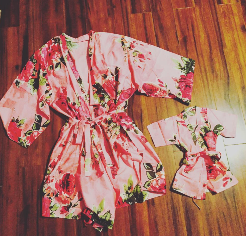Pink Fuchsia Large Floral Blossom Mommy Baby Matching Robes