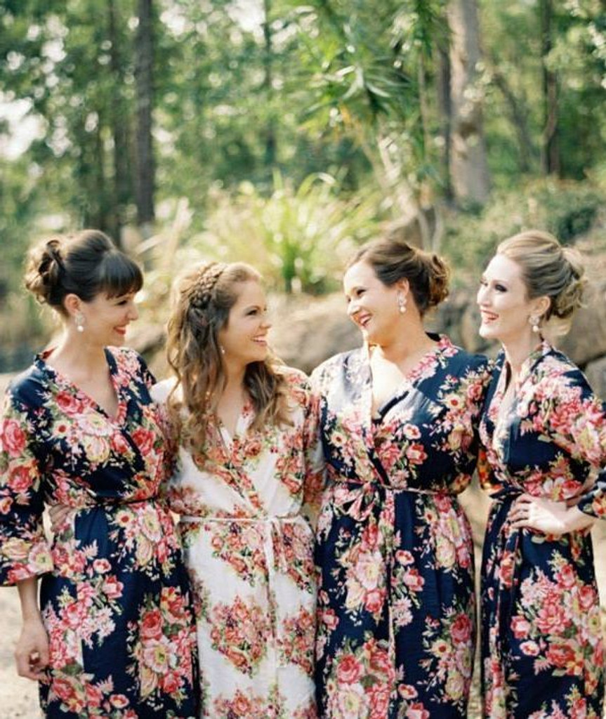 Navy Blue Rosy Red Posy Bridesmaids Robes