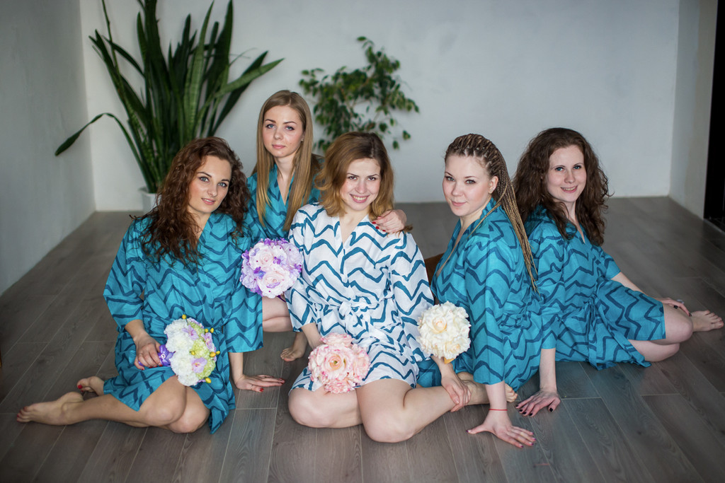 Teal Chevron Robes for bridesmaids   Getting Ready Bridal Robes