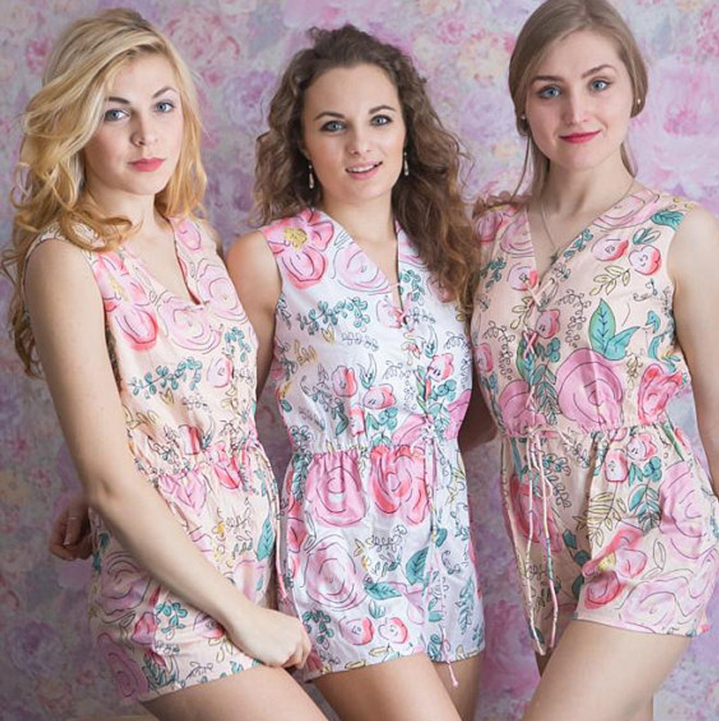 Corset Style Bridesmaids Rompers in Blush Whimsical Giggle Pattern