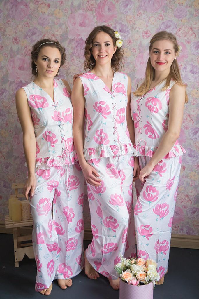 Corset Style PJs in Blushing Flowers Pattern-long