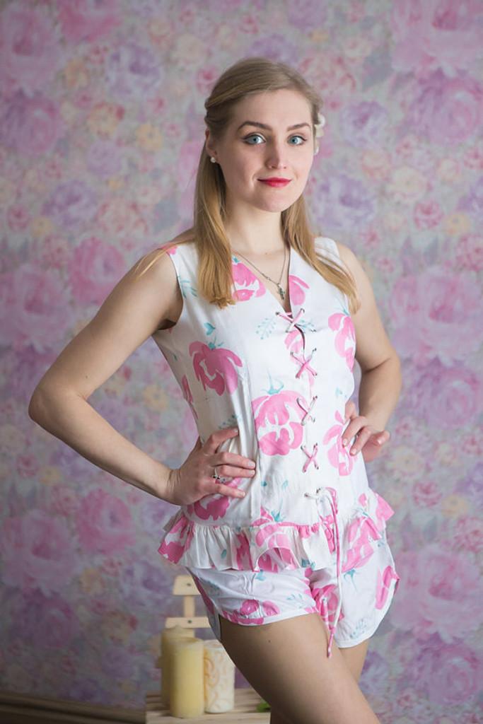 Corset Style PJs in Blushing Flowers Pattern-short