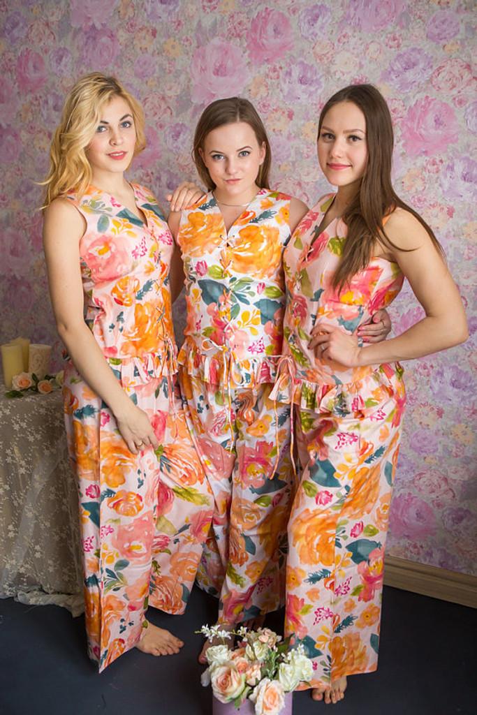 Corset Style PJs in Her Petal Garden Pattern-long