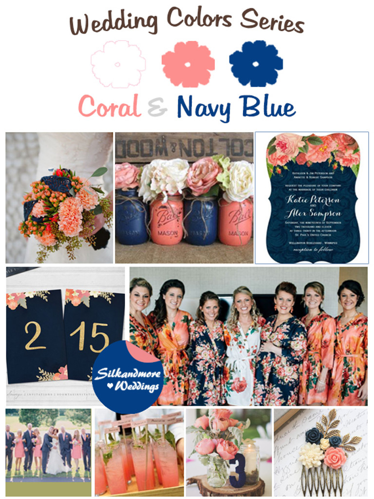 Navy Blue Wedding.Coral And Navy Blue Wedding Colors Palette