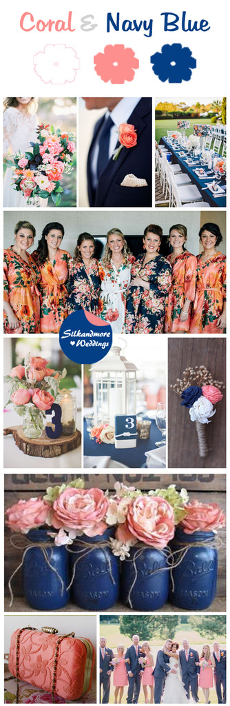 Coral and Navy Blue Wedding Color Bridesmaids Robes