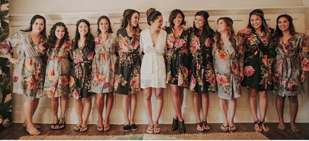 Black and Gray Wedding Color Bridesmaids Robes
