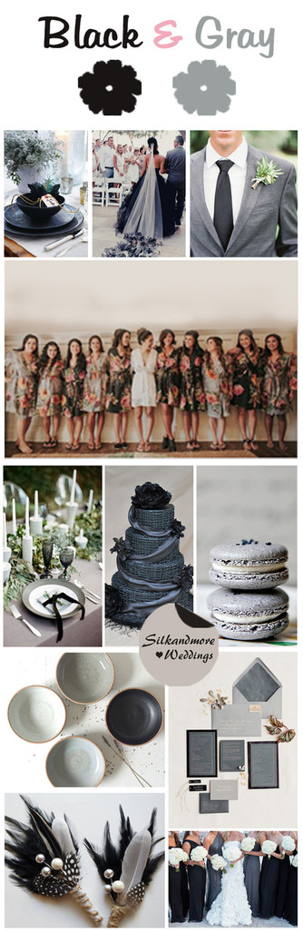 Black and Gray Wedding Color Bridesmaids Robes
