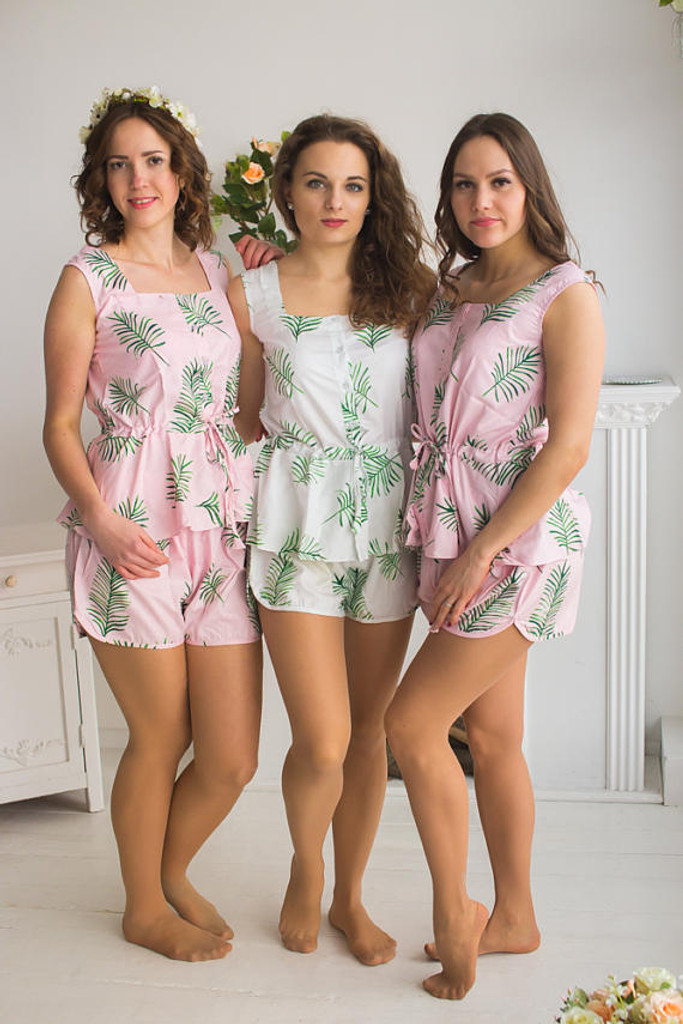 Drawstring Style Pj Sets in Pink Tropical Delight Palm Leaves Pattern