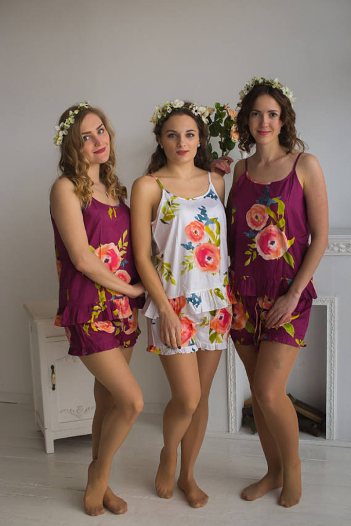 Frilly Style Pj Sets in Plum Smiling Blooms Pattern