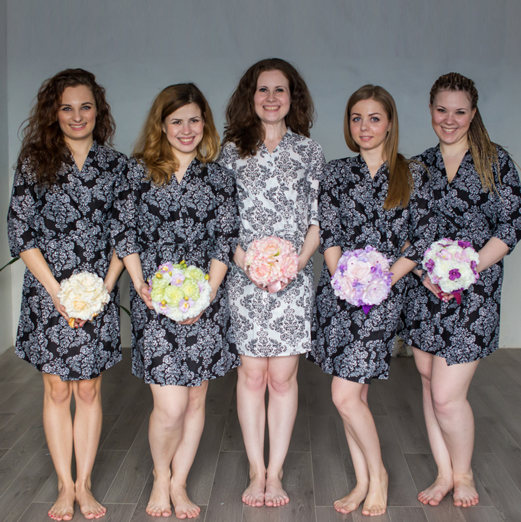 Black Damask Robes for bridesmaids   Getting Ready Bridal Robes