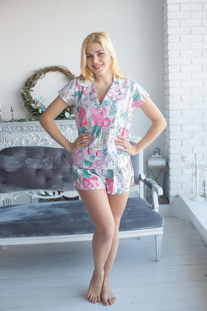Notched Collar Style Pj Sets in White Whimsical Giggles Pattern