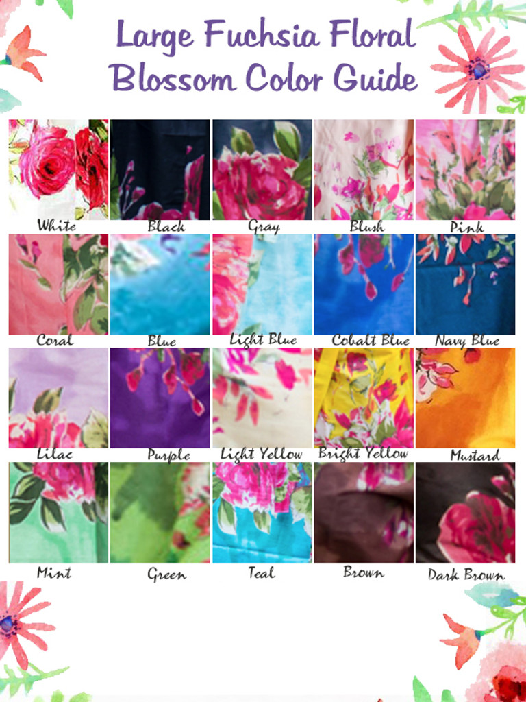 Fuchsia Large Floral Blossom fabric Pattern Color Guide