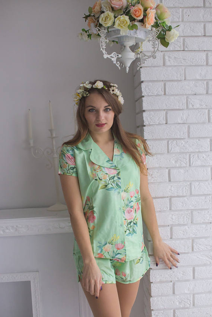 Dusty Blue, Peach and Mint Wedding Colors Pj Sets in Notched Collar Style in Dreamy Angel Song Pattern
