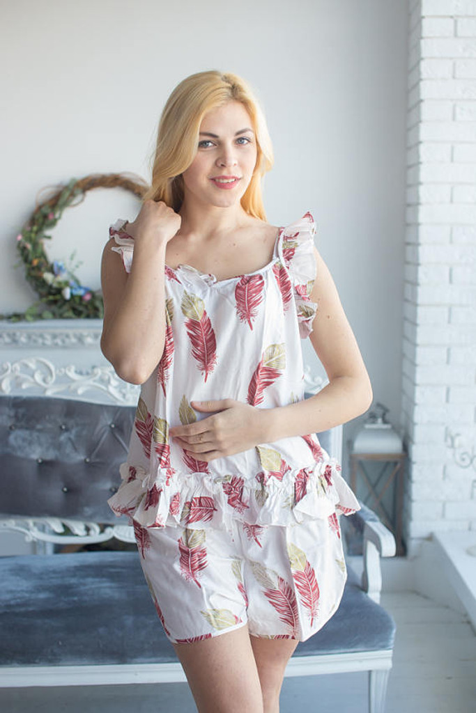 Ruffled Style Pj Sets in a White Marsala feather rhyme Pattern