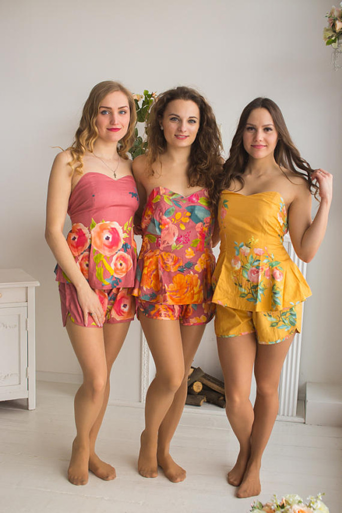 Dusty Rose, Dusty Cedar and Mustard Wedding Colors Pj Sets in Strapless style