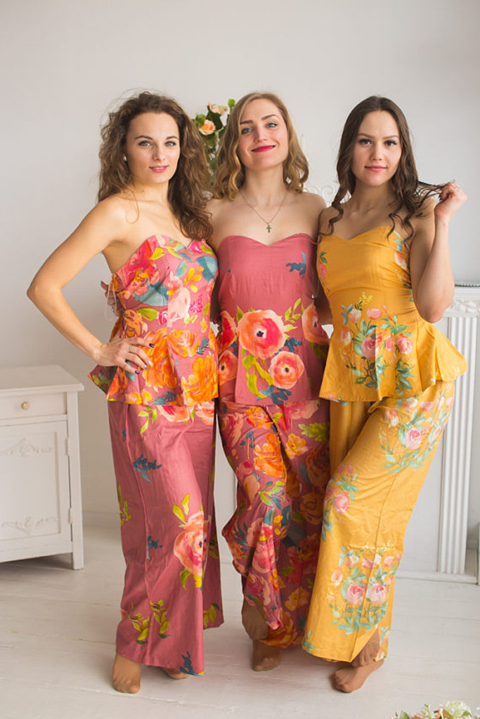 Dusty Rose, Dusty Cedar and Mustard Wedding Colors long Pj Sets in Strapless style