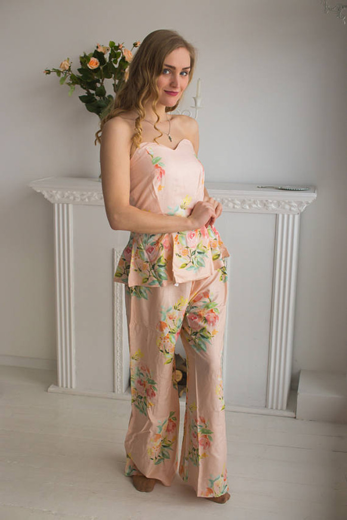 Blush, Lilac and Plum Wedding Colors Pj Sets in Strapless style