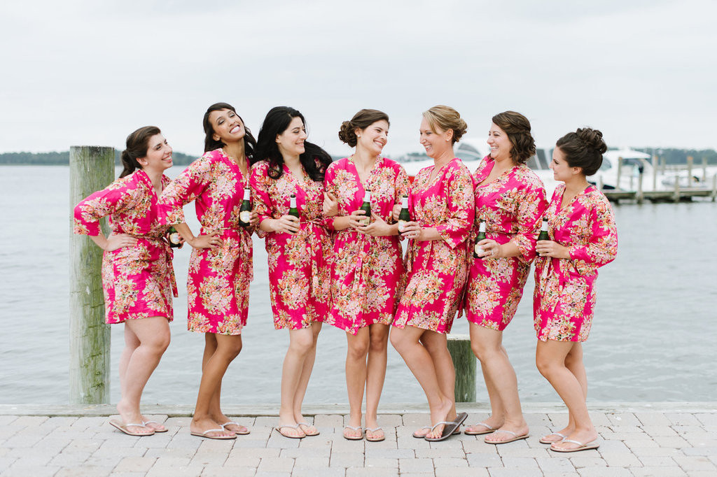 Magenta Floral Posy Bridesmaids Robes