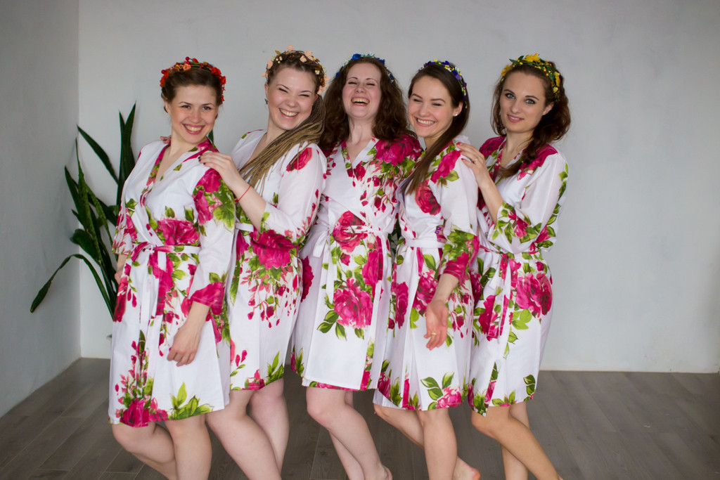 White Large Fuchsia Floral Blossom Bridesmaids Robes