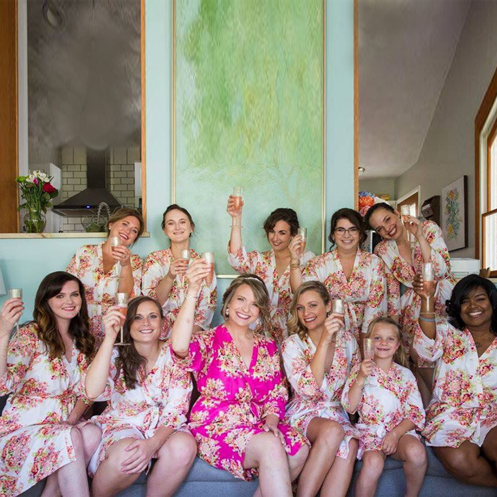 White and Magenta Floral Posy Bridal Party Robes