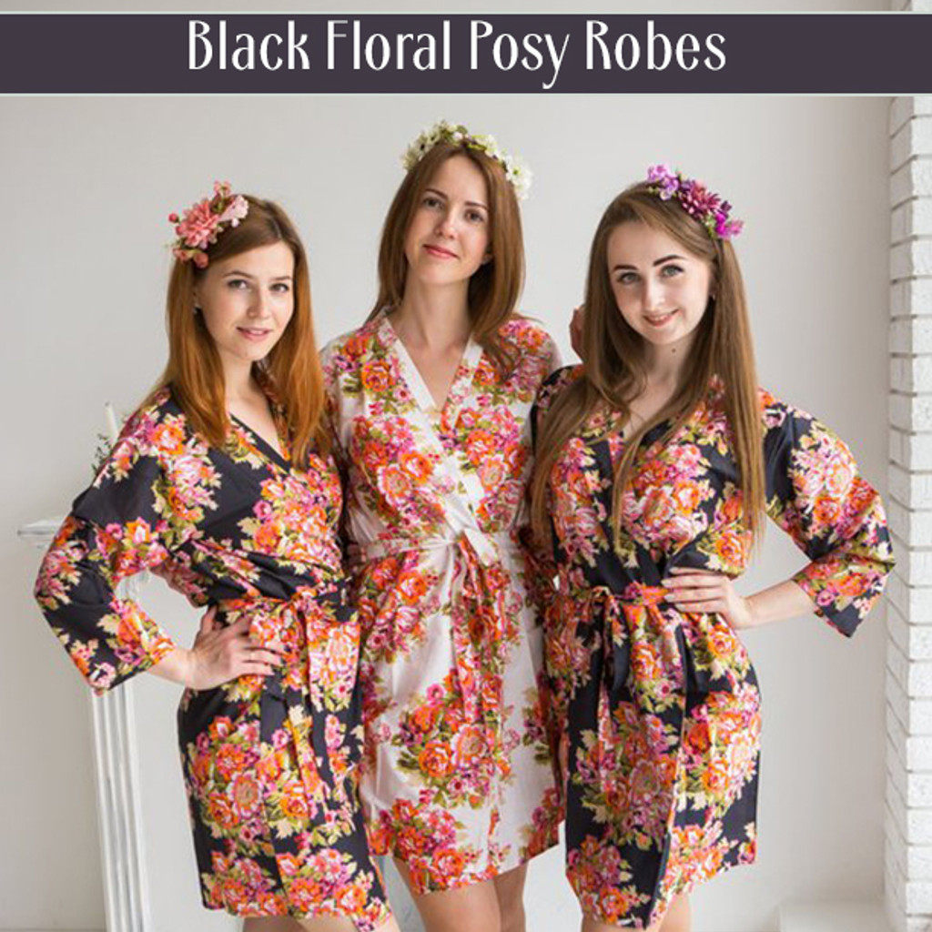 Set of 3 Bridesmaids Roes in White Floral Posy- Floral wedding Robes