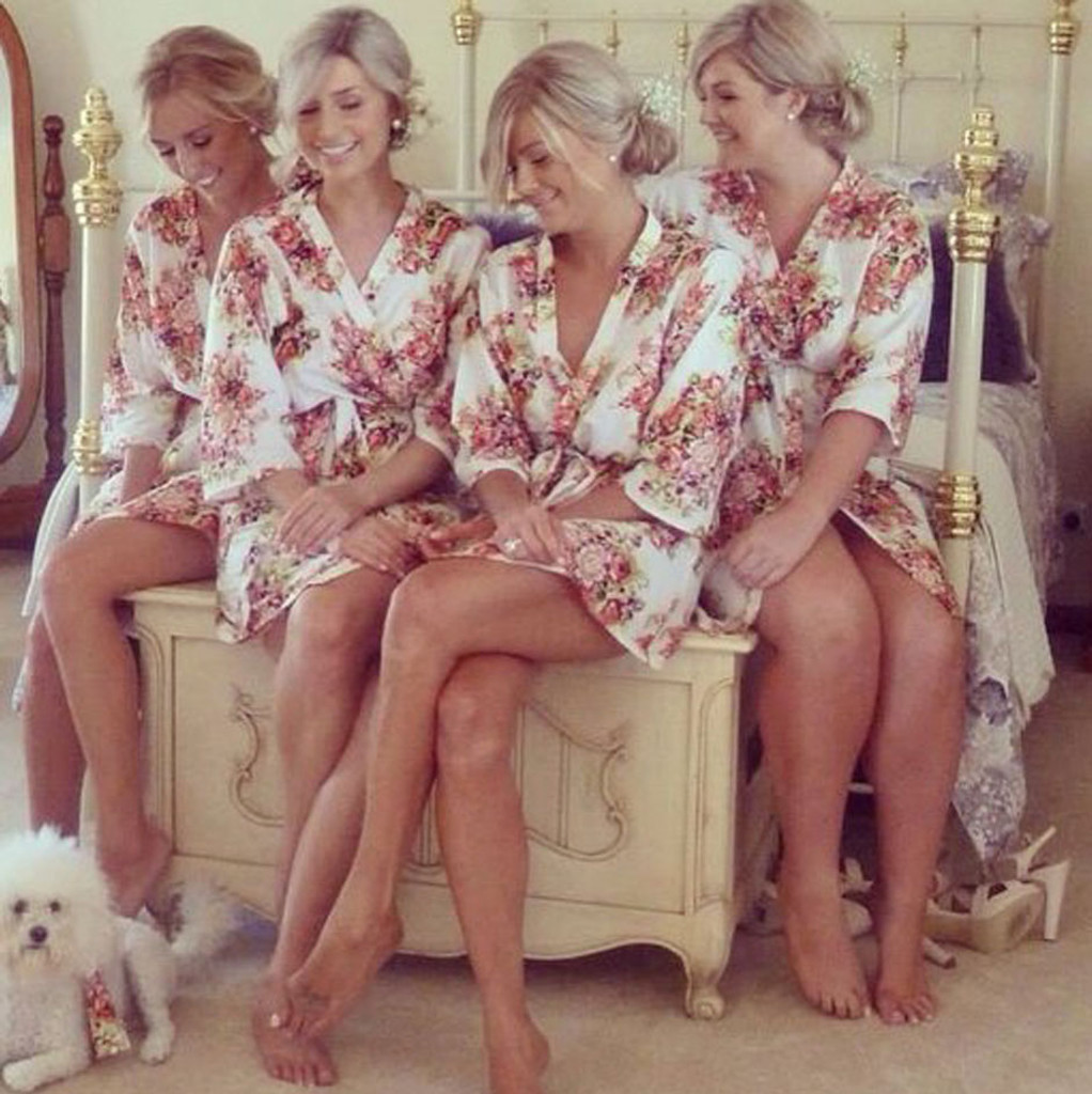 White Floral Posy Bridesmaids Robes Set
