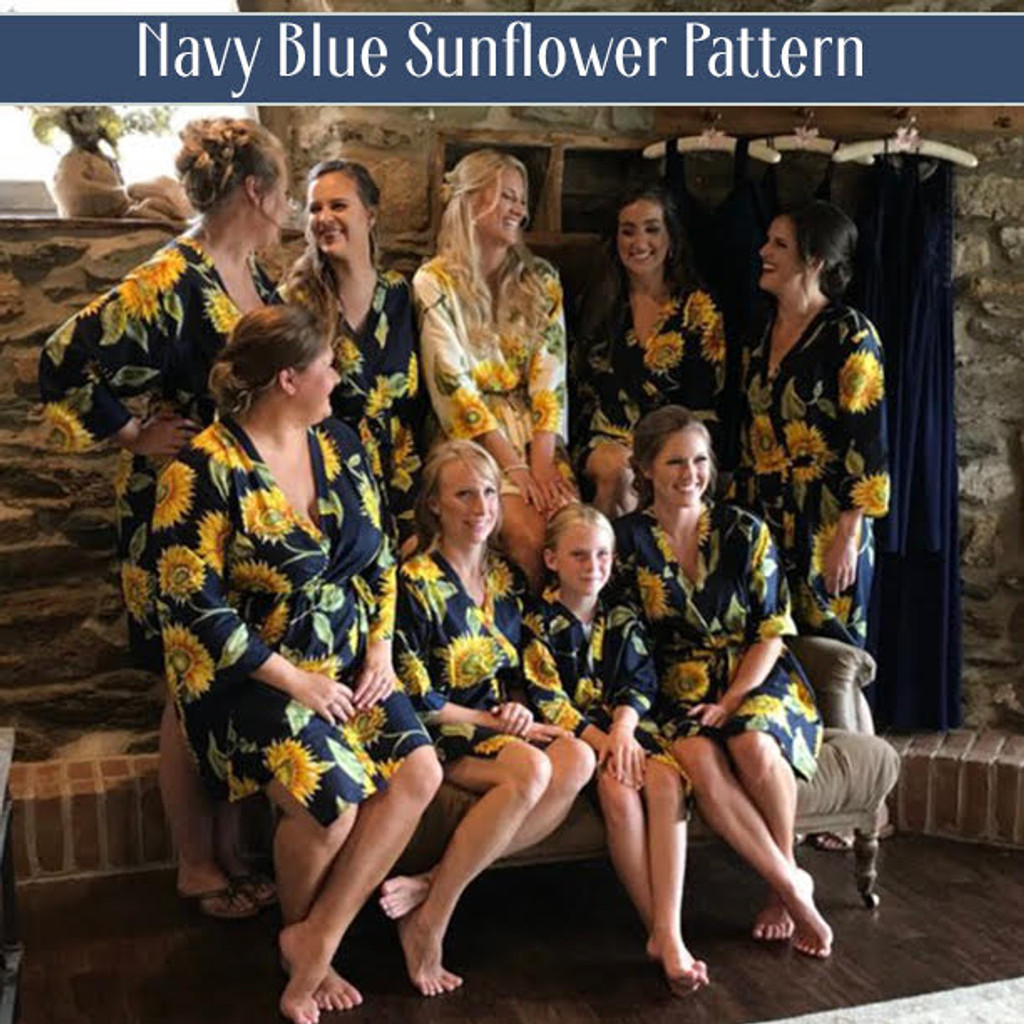 Navy Blue Sunflower Bridesmaids Robes Set of 10