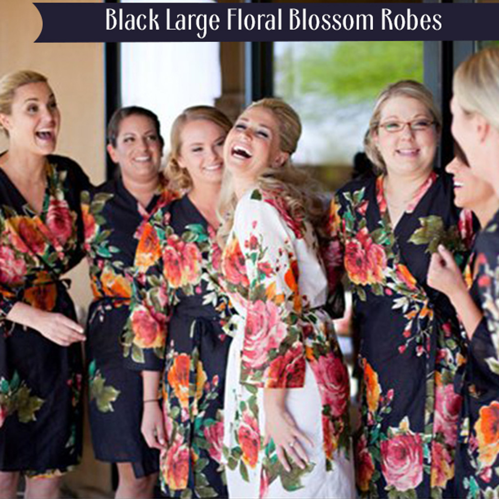 Black Large Floral Blossom Robes