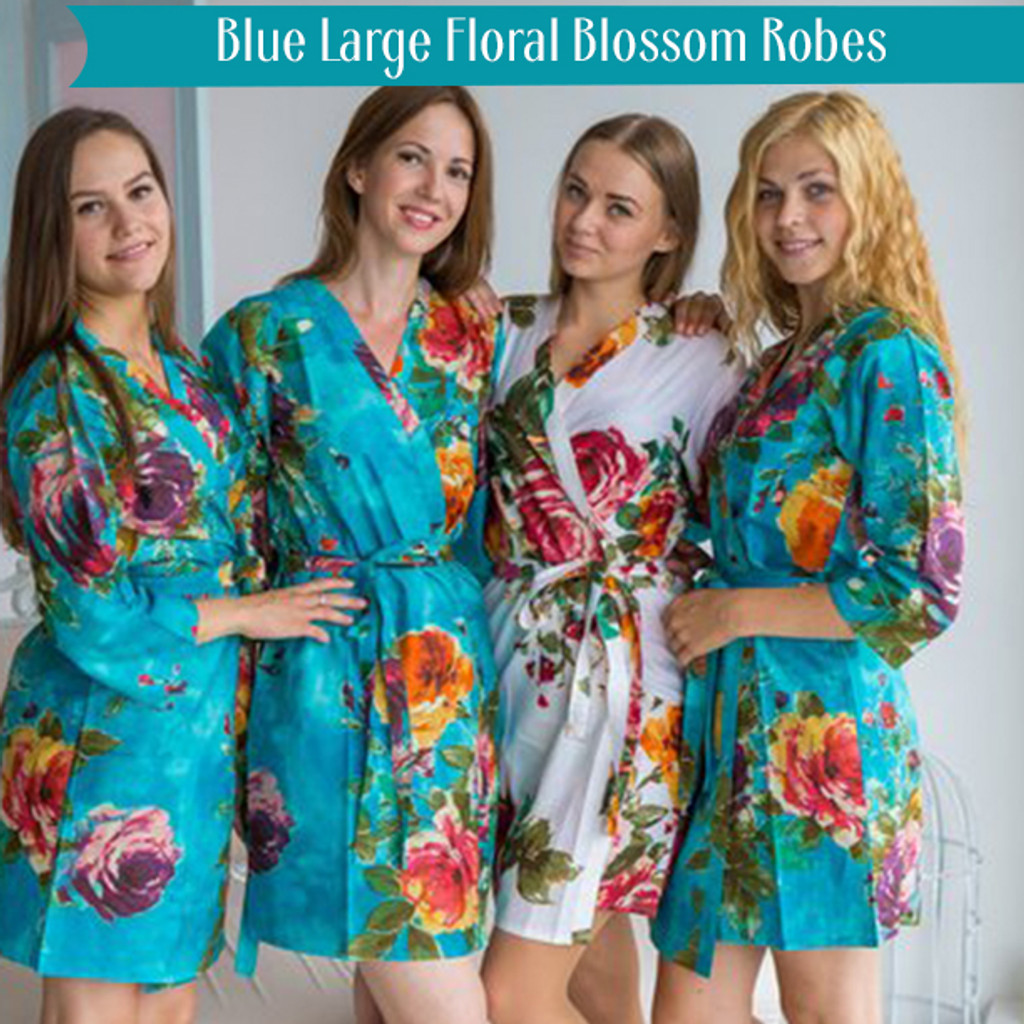 Blue Large Floral Blossom Robes
